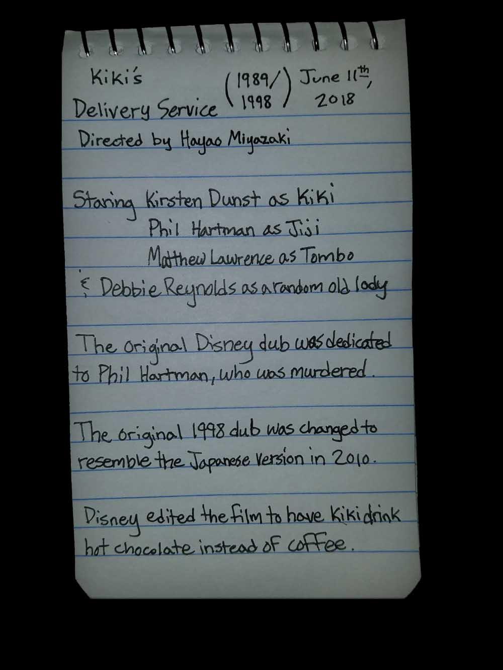 Kiki's Delivery Service, Film Notes, Trivia, Bagrisham, Brandon Grisham