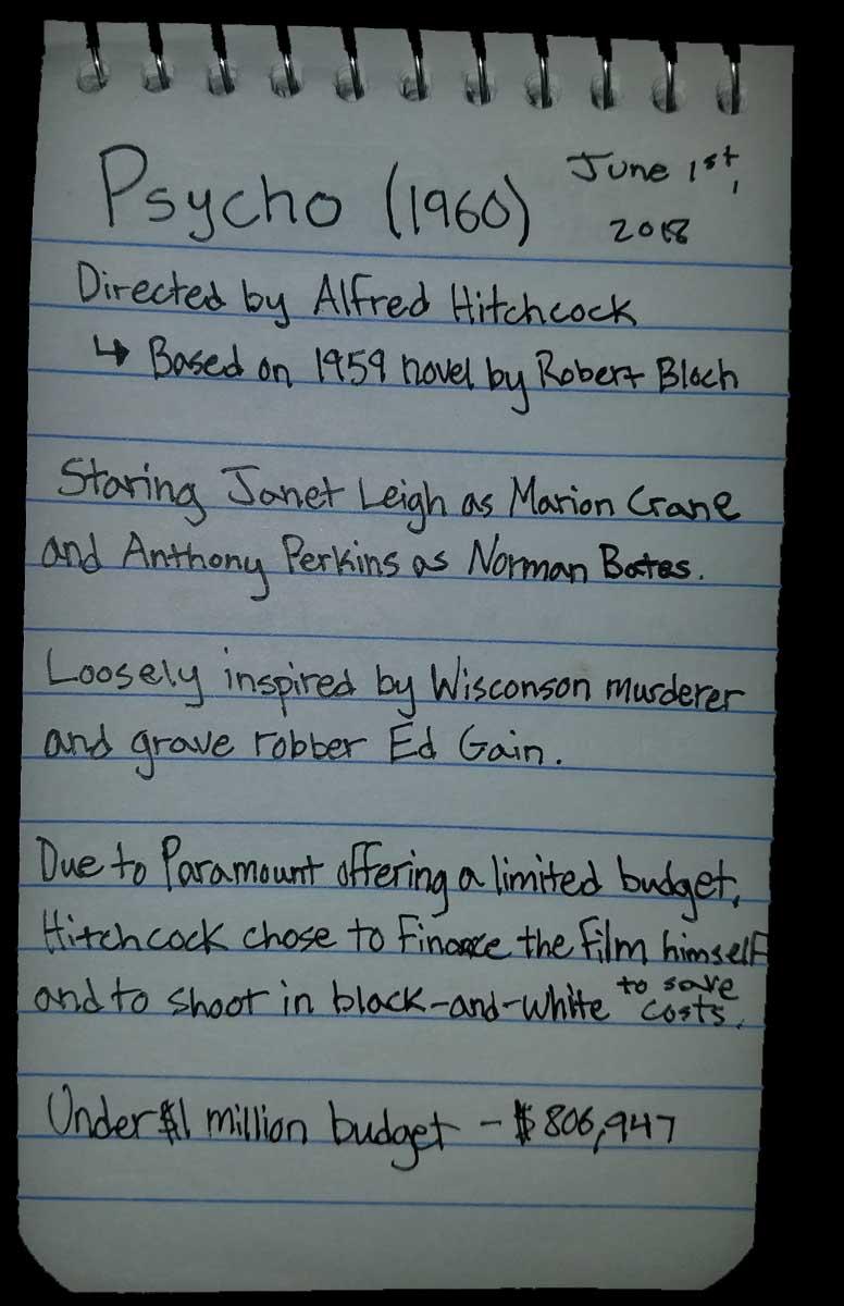 Psycho, Film Notes, Trivia, Bagrisham, Brandon Grisham