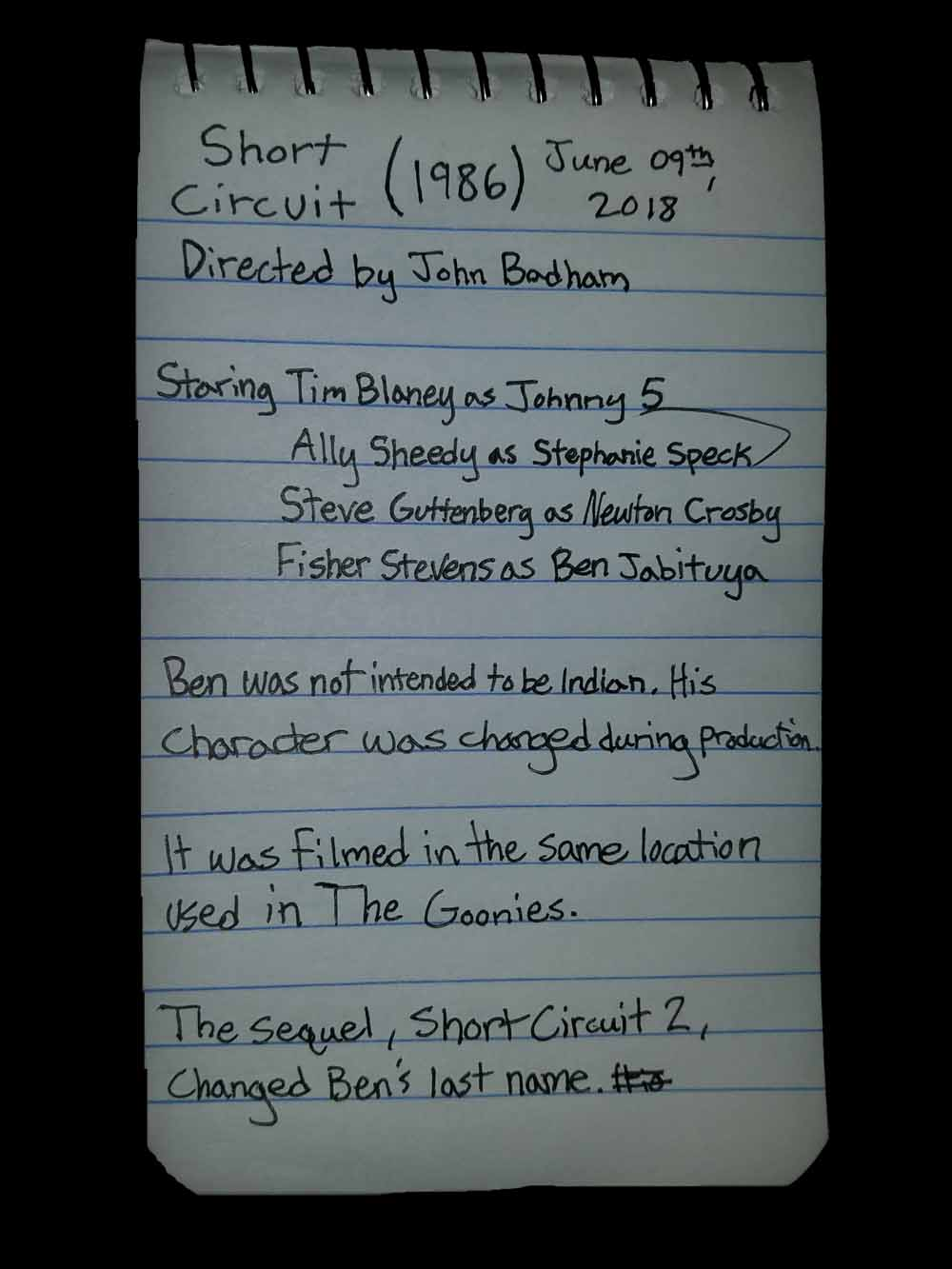 Short Circuit, Film Notes, Trivia, Bagrisham, Brandon Grisham