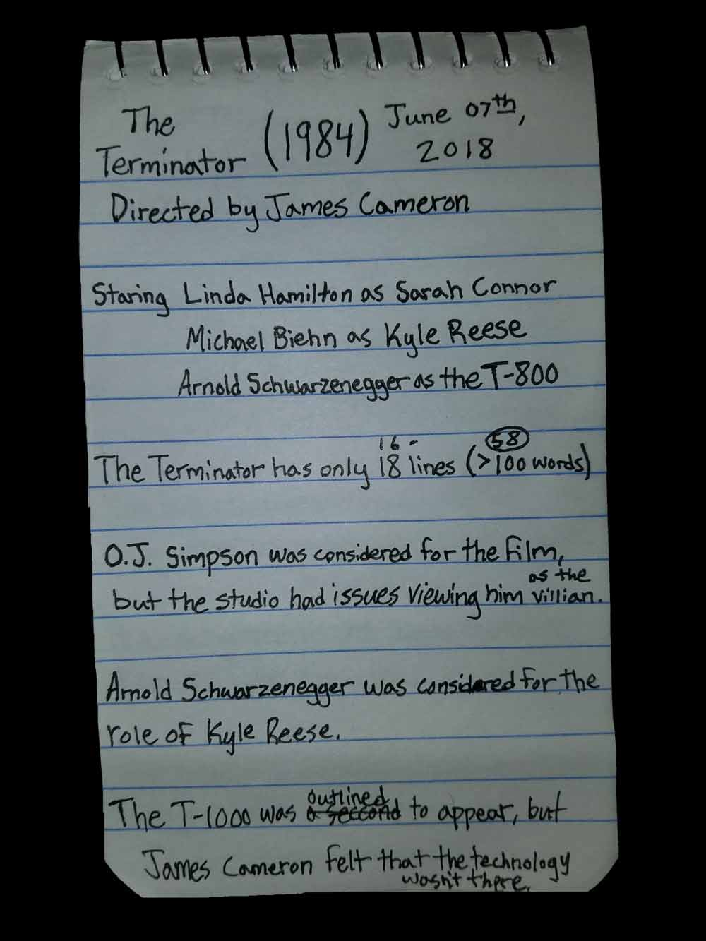 The Terminator Film Notes, Trivia, Bagrisham, Brandon Grisham